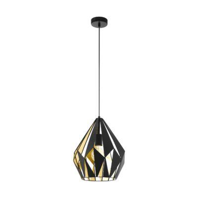EGLO 49931 CARLTON 1 Vintage függesztett lámpa, 31cm, fekete/arany, E27 foglalattal + ajándék LED fényforrás