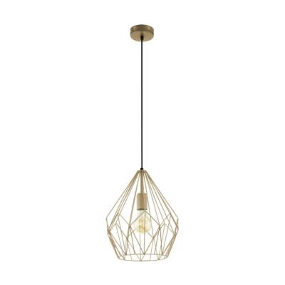EGLO 49934 CARLTON Vintage függesztett lámpa, 31cm, matt arany, E27 foglalattal + ajándék LED fényforrás
