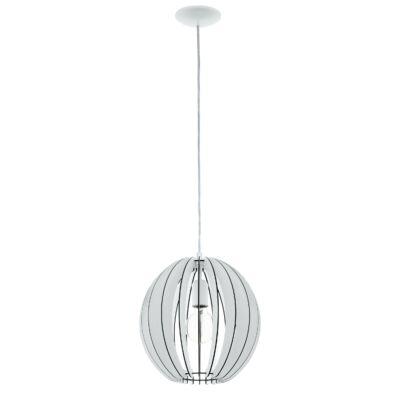 EGLO 94438 COSSANO Fa függesztett lámpa, 30cm, fehér, E27 foglalattal + ajándék LED fényforrás