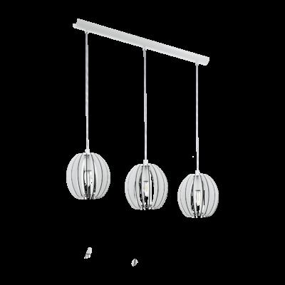 EGLO 94444 COSSANO Fa függesztett lámpa, 79cm, fehér, 3 db. E14 foglalattal + ajándék LED fényforrás