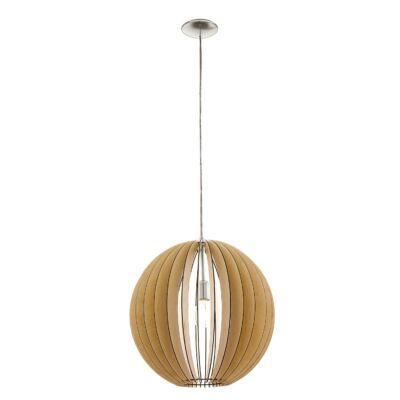 EGLO 94765 COSSANO Fa függesztett lámpa, 50cm, juhar, E27 foglalattal + ajándék LED fényforrás