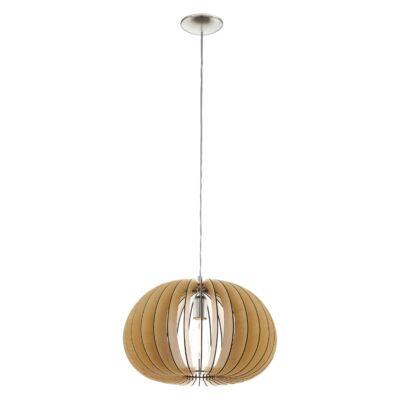EGLO 94767 COSSANO Fa függesztett lámpa, 45cm, juhar, E27 foglalattal + ajándék LED fényforrás