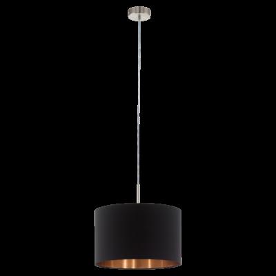 EGLO 94913 PASTERI Textil függesztett lámpa, 38cm, fekete/réz, E27 foglalattal + ajándék LED fényforrás