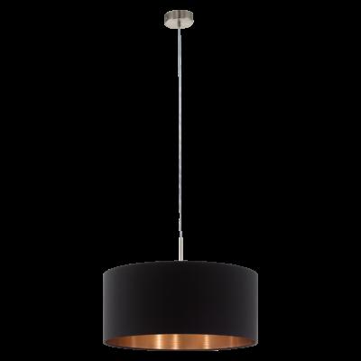 EGLO 94914 PASTERI Textil függesztett lámpa, 53cm, fekete/réz, E27 foglalattal + ajándék LED fényforrás