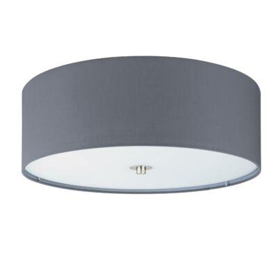 EGLO 94921 PASTERI Textil mennyezeti lámpa, 47,5cm, szürke 3 db E27 foglalattal + ajándék LED fényforrás