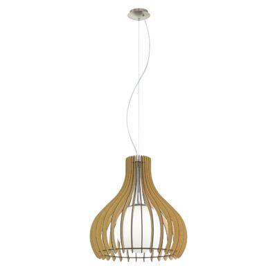 EGLO 96214 TINDORI Fa függesztett lámpa, 50cm, juhar, E27 foglalattal + ajándék LED fényforrás