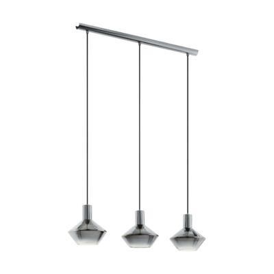 EGLO 97424 PONZANO Füstüveg/fekete, függesztett lámpa, 3 db. E27 foglalattal, 80cm hosszú, max. 3x60W + ajándék LED fényforrás