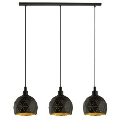 EGLO 97846 ROCCAFORTE fekete, függesztett lámpa, 3 db. E14 foglalattal, 75cm hosszú, max. 3x40W + ajándék LED fényforrás