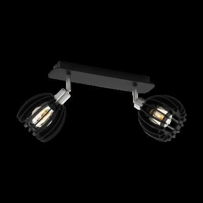 EGLO 98159 COSSANO-SPOT Fali/mennyezeti lámpa, fekete, fa 2XE14 foglalattal, 33cm