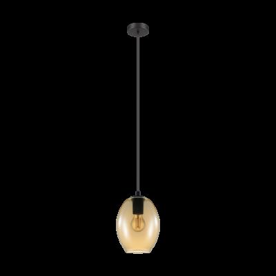 EGLO 98581 CADAQUES Függesztett lámpa, borostyán üveg E27 foglalattal, 18x110cm + ajándék LED fényforrás