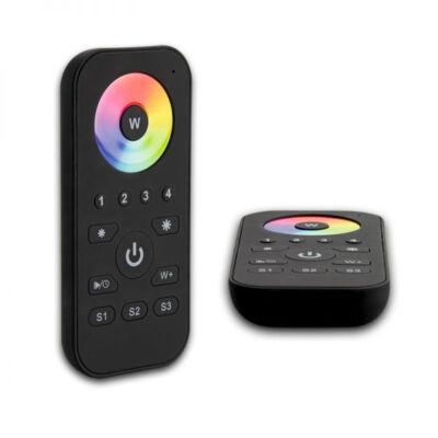 SysCon 4 zónás RF RGB+W vezeték nélküli LED távvezérlő, memóriával, színtárcsával, fekete