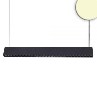 Függeszthető LED spotsáv, lefelé és felfelé világít, 37W, 2900lm, 3000K melegfehér, IP20, CRI93, 128cm, 30°, fekete, 1-10V fényerőszabályozható