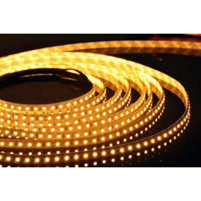 Borostyánsárga SMD LED szalag 12V 3528 , beltéri 120 LED/m, 9,6W, 2 év garancia