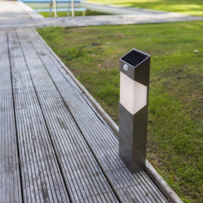 LUTEC Solstel szolár kültéri állólámpa, 2,3W, 150 lm, 4000K természetes fehér, IP44, mozgásérzékelővel, szürke, LUTEC-6907903001, ST9079-450
