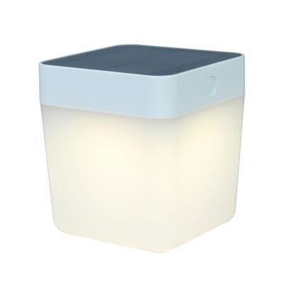 LUTEC Table Cube szolár hordozható asztali lámpa, 1W, 100 lm, 3000K melegfehér, IP44, fehér, LUTEC-6908001331, P9080-3K wh
