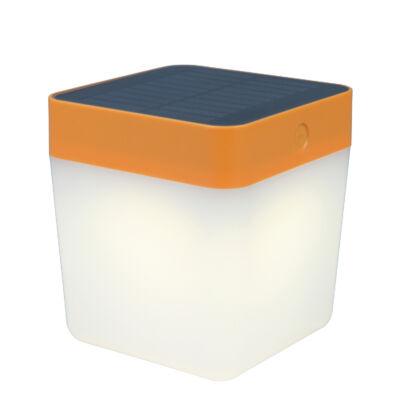 LUTEC Table Cube szolár hordozható asztali lámpa, 1W, 100 lm, 3000K melegfehér, IP44, narancs, LUTEC-6908001340, P9080-3K or
