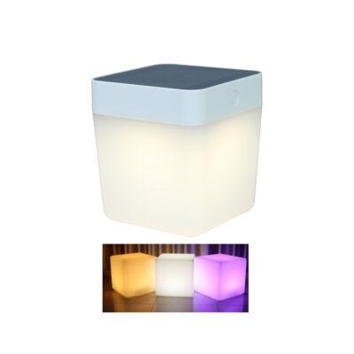 LUTEC Table Cube szolár hordozható asztali lámpa, 1W, 100 lm, RGB, IP44, fehér, LUTEC-6908003331, 6908003331