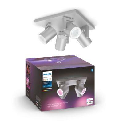 PHILIPS Hue Argenta alumínium négyes mennyezeti LED spot, RGBW, GU10 fényforrással, 5062448P7, Bluetooth+Zigbee