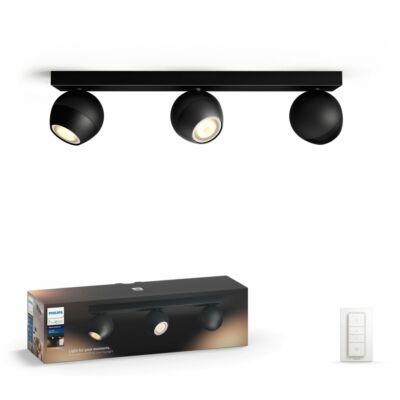 Philips Hue Buckram LED spotlámpa, fekete, változtatható színhőmérséklet 2200-6500K, 3x5.5W, 750 lm, 50473/30/P7