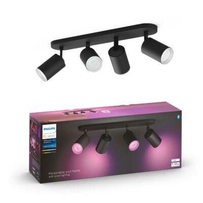 PHILIPS Hue Fugato fekete mennyezeti négyes LED szpotlámpa, RGBW, GU10 fényforrással, 5063430P7, Bluetooth+Zigbee