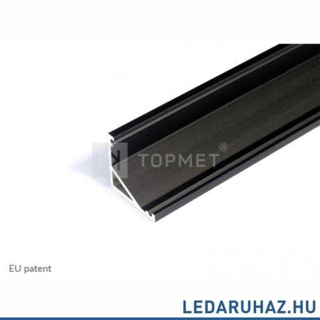 Topmet Cabi12 alumínium LED sarok profil, fekete (előlap: E) - C9020021 - 2m