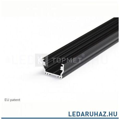 Topmet Uni12 alumínium LED profil, fekete (előlap: B, C, D) - A1020021 - 2m