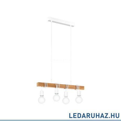 EGLO 33164 TOWNSHEND Függesztett lámpa 4 db. E27 foglalattal, 70 cm hosszú, fa/fehér, max. 4x60W + ingyen szállítás