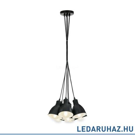 EGLO 49467 PRIDDY Vintage hetes függesztett lámpa, 38,5 cm, fekete , 7 db. E27 foglalattal