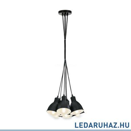 EGLO 49467 PRIDDY Vintage hetes függesztett lámpa, 38,5 cm, fekete , 7 db. E27 foglalattal + ajándék LED fényforrás