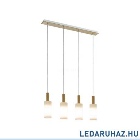 EGLO 49559 OAKHAM Fa/opál üveg függesztett lámpa 4 db. E27 foglalattal, 75 cm hosszú, max. 4x40W + ajándék LED fényforrás