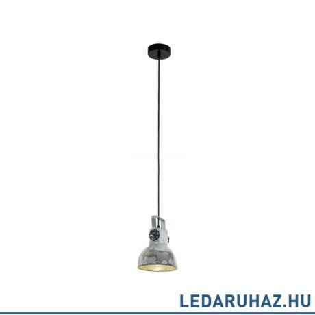 EGLO 49619 BARNSTAPLE Függesztett lámpa E27 foglalattal, 17,5 cm átmérő, cink/fekete, max. 1x40W