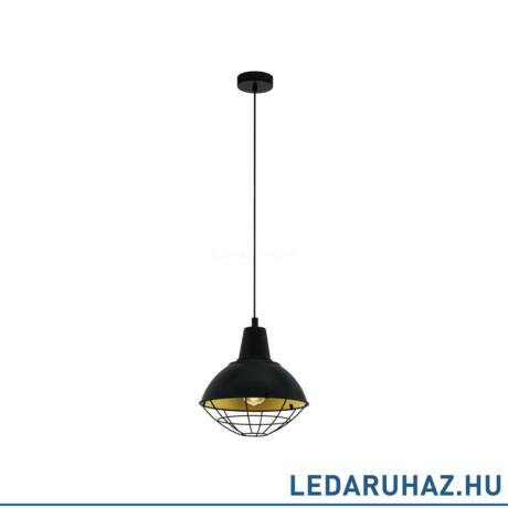 EGLO 49672 CANNINGTON Függesztett lámpa E27 foglalattal, 31 cm átmérő, fekete/arany, max. 1x60W