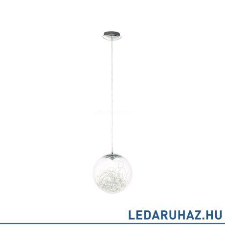 EGLO 49891 VALENCA Króm függesztett LED lámpa üveg burával, 25 cm, 7W, 3000K melegfehér, 470 lm