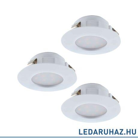 EGLO 95821 PINEDA Fehér beépíthető LED lámpa, fix, 3 darabos csomag, 7,8 cm átmérő, 3x6W, 3000K melegfehér, 3x500 lm, IP44