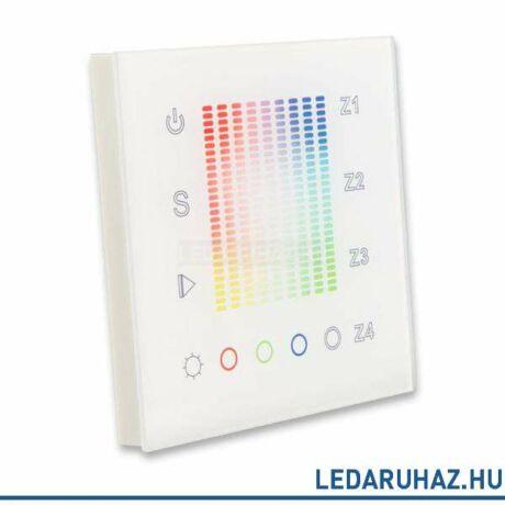 SysCon 4 zónás RF RGB+W vezeték nélküli fali LED vezérlő, érintésérzékeny, fehér