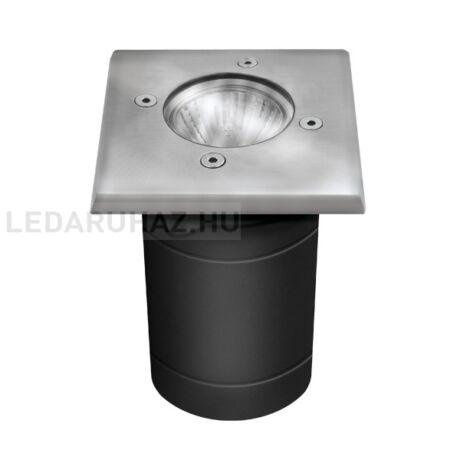 Talajba süllyesztett lámpatest, négyzet, rozsdamentes acél, 100x100 mm – GU10 foglalat, IP67