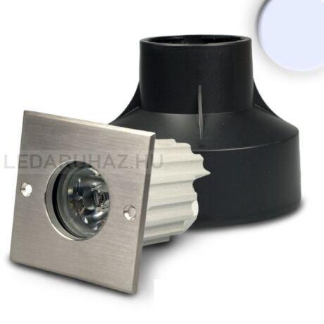 Talajba építhető LED lámpa, kültéri IP67, négyzet, 1W hidegfehér LED
