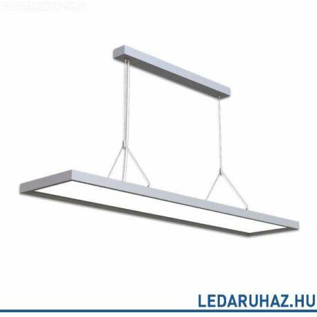 Függesztett LED lámpatest irodai használatra, szögletes, 6000 lm, 58W, 4000K természetes fehér, alumínium