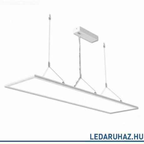 Függesztett LED lámpatest irodai használatra, szögletes, 3700 lm, 40W, 3000K meleg fehér, fehér