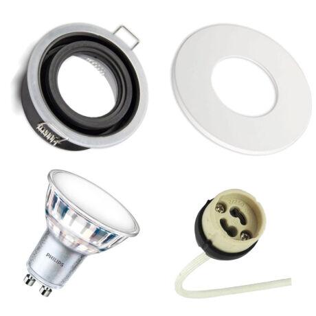 IP65 LED Spot keret + GU10 foglalat + fehér kör előlap + 3000K Philips LED spot 3000K