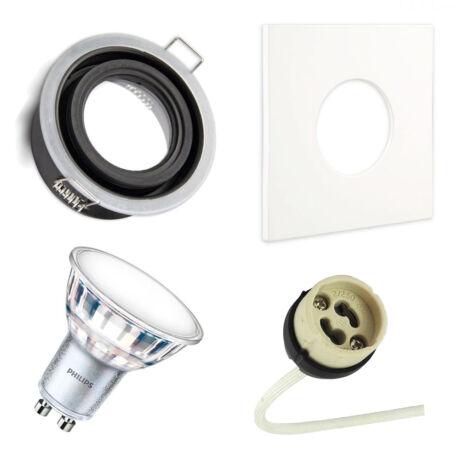 IP65 LED Spot keret + GU10 foglalat + fehér négyzet előlap + 3000K Philips LED spot 3000K