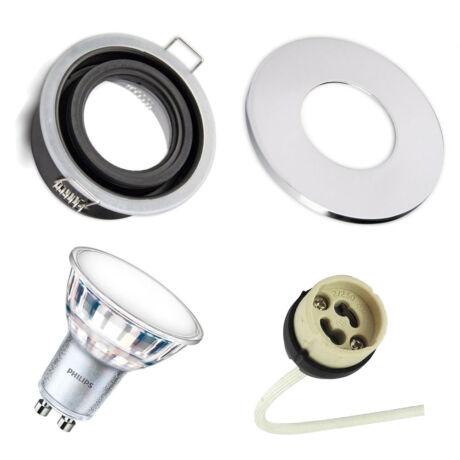 IP65 LED Spot keret + GU10 foglalat + fényes króm kör előlap + 4000K Philips LED spot 4000K