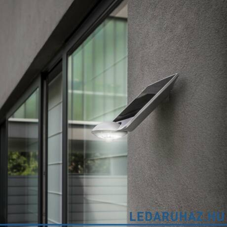 Lutec Drop szolár kültéri fali lámpa, 2,3W, 240 lm, 4000K természetes fehér, IP44, mozgásérzékelővel, szürke - 6901301337 - P9013  si