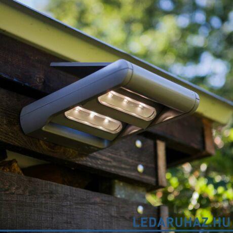 Lutec Mini LEDspot szolár kültéri fali lámpa, 2W, 200 lm, 4000K természetes fehér, IP44, szürke - 6914402000 - 6144S-2-SL si