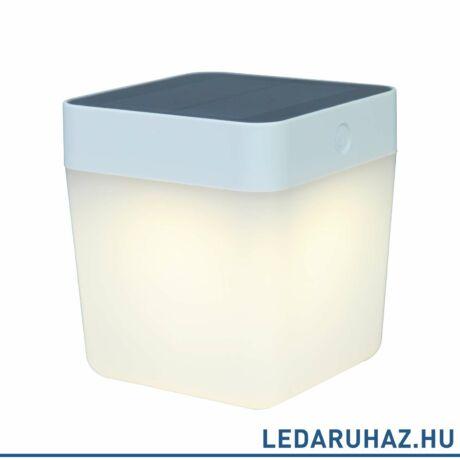 Lutec Table Cube szolár hordozható asztali lámpa, 1W, 100 lm, 3000K melegfehér, IP44, fehér - 6908001331 - P9080-3K wh