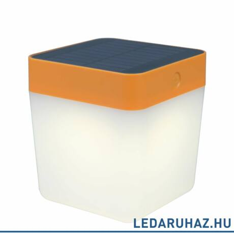 Lutec Table Cube szolár hordozható asztali lámpa, 1W, 100 lm, 3000K melegfehér, IP44, narancs - 6908001340 - P9080-3K or