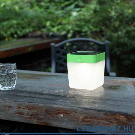 Lutec Table Cube szolár hordozható asztali lámpa, 1W, 100 lm, 3000K melegfehér, IP44, zöld - 6908001339 - P9080-3K grn