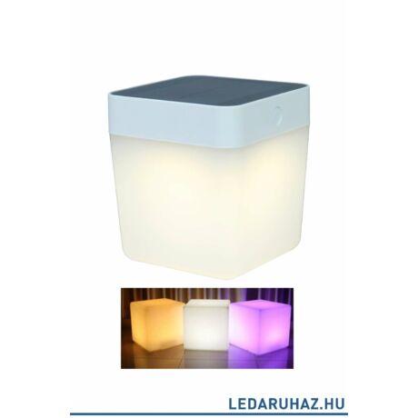 Lutec Table Cube szolár hordozható asztali lámpa, 1W, 100 lm, RGB, IP44, fehér - 6908003331 - P9080 - RGB