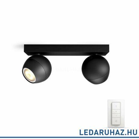 Philips Hue Buckram LED spotlámpa, fekete, változtatható színhőmérséklet 2200-6500K, 2x5.5W, 500 lm, 50472/30/P7