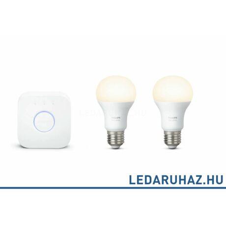 Philips Hue E27 White kezdőcsomag 2x9.W 806 lm E27 Smart LED + Bridge, 8718696449554